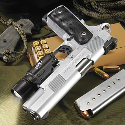 Silver 1911 and ammo box