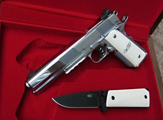 1911 and knife with ivory handles