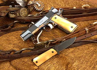 Custom 1911, knife and bridle