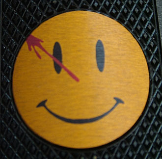 Watchmen Smiley Face 1911 Grip Closeup
